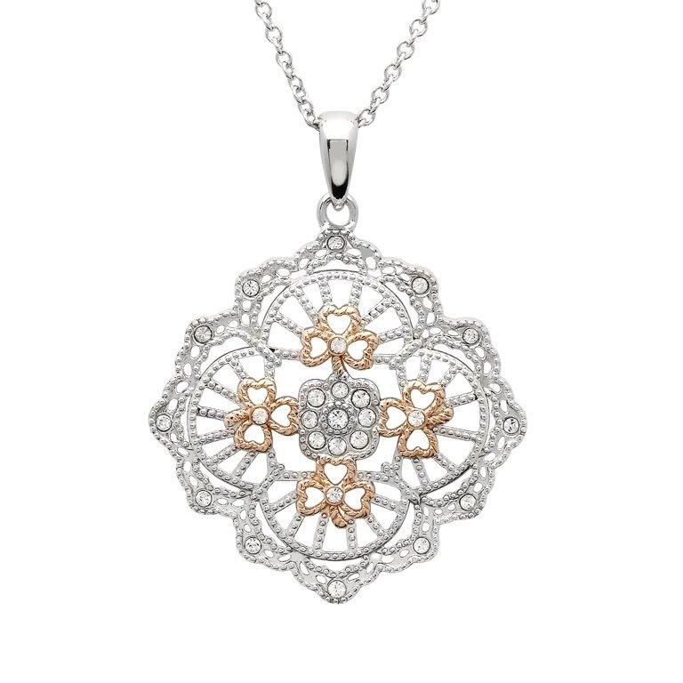 Irish Lace Rose Gold Silver Shamrock Pendant Necklace