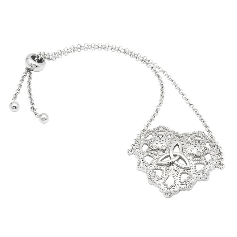 Irish Lace Silver Heart Trinity Knot Bracelet Sw181