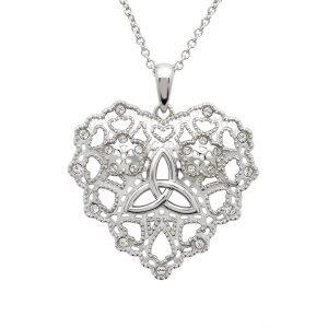 Irish Lace Silver Heart Trinity Knot Pendant Necklace