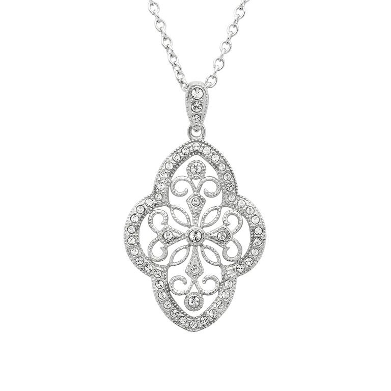 Irish Lace Silver Stone Set Pendant SKU: ST96