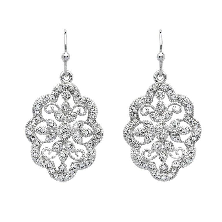 Irish Lace Sterling Silver Drop Stone Set Earrings