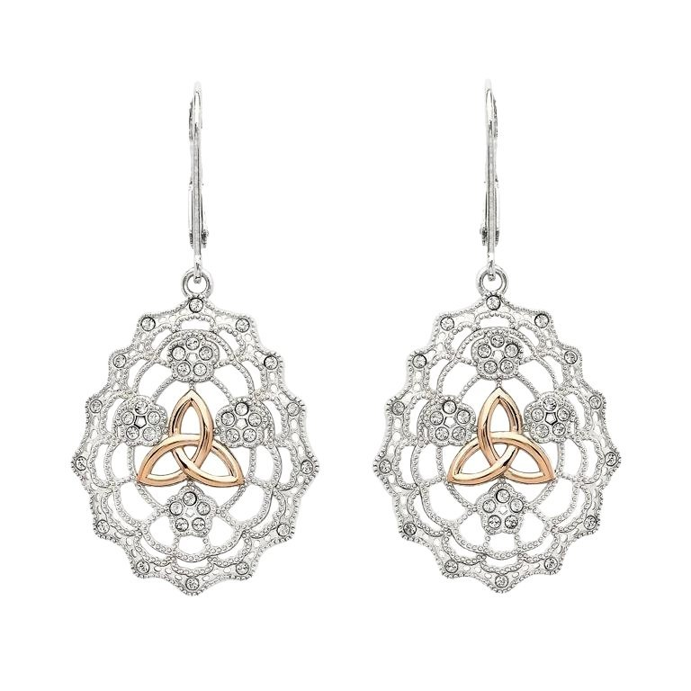Irish Lace Sterling Silver Rose Gold Trinity Knot Earrings
