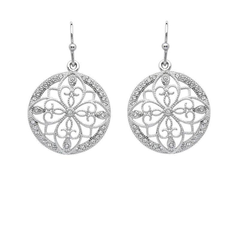 Irish Lace Sterling Silver Round Drop Earrings
