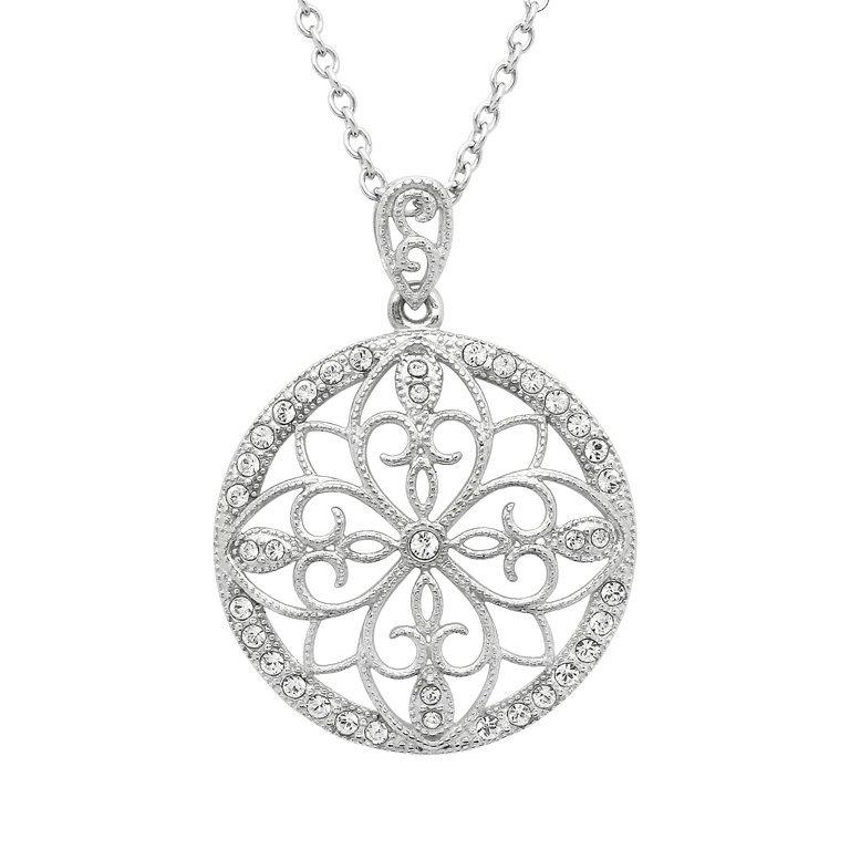 Irish Lace Sterling Silver Round Stone Set Pendant