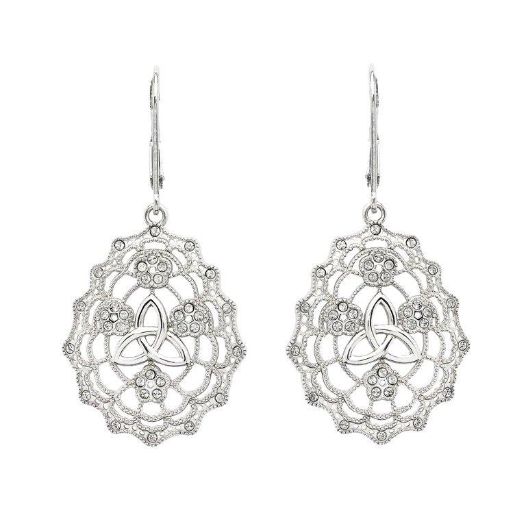 Irish Lace Sterling Silver Trinity Knot Earrings