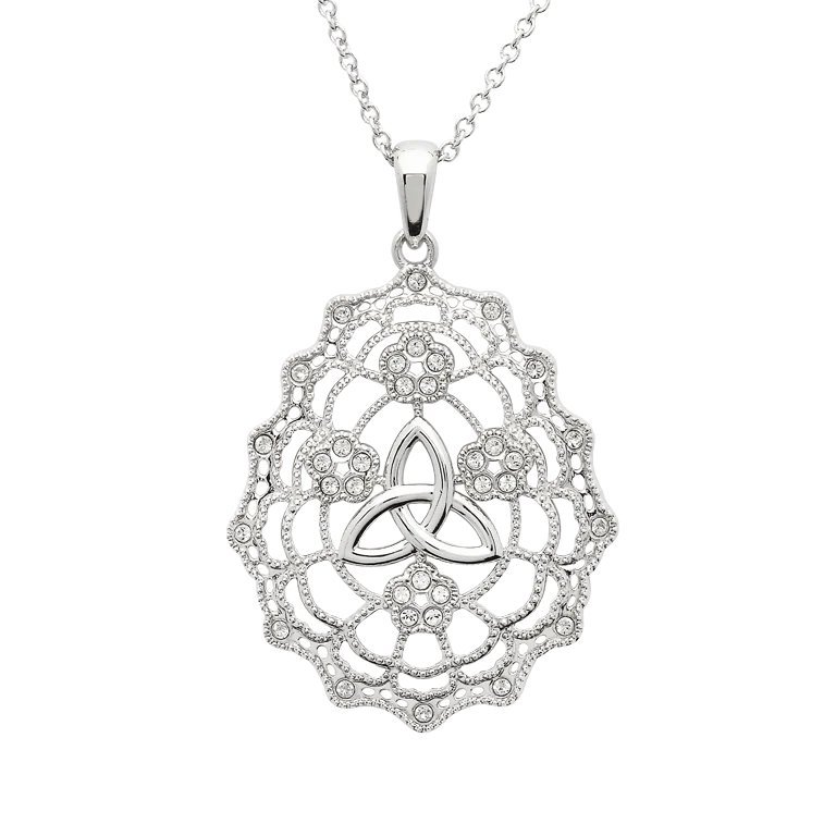 Irish Lace Sterling Silver Trinity Knot Necklace