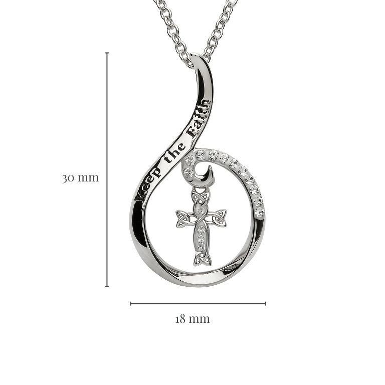 Keep The Faith Silver Pendant with Measurement