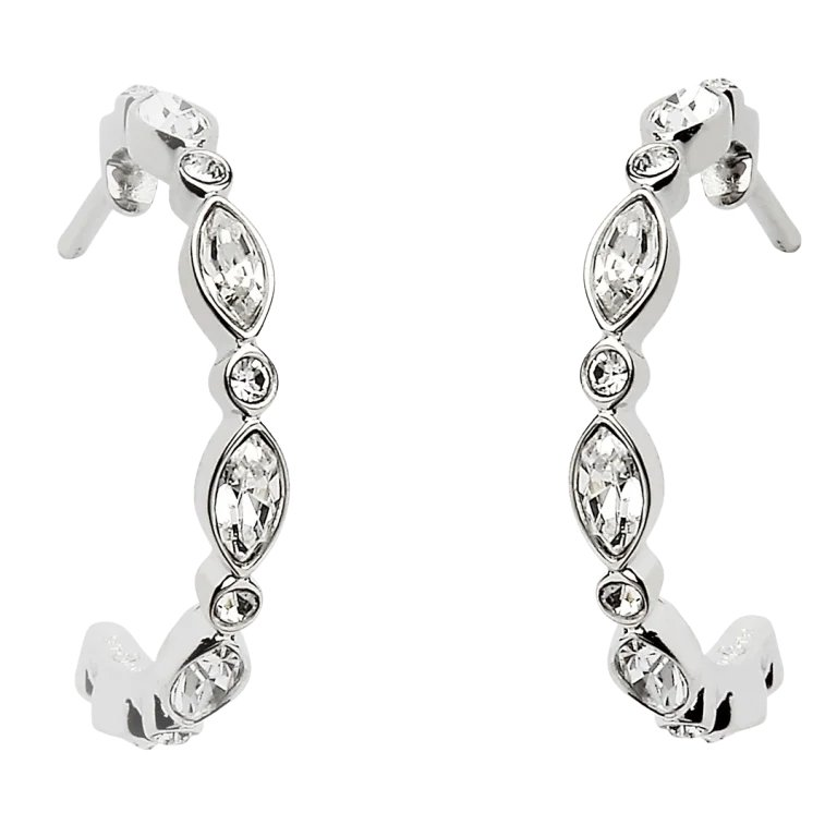 Marquise And Round Silver Earrings Encrusted With Swarovski Crystal