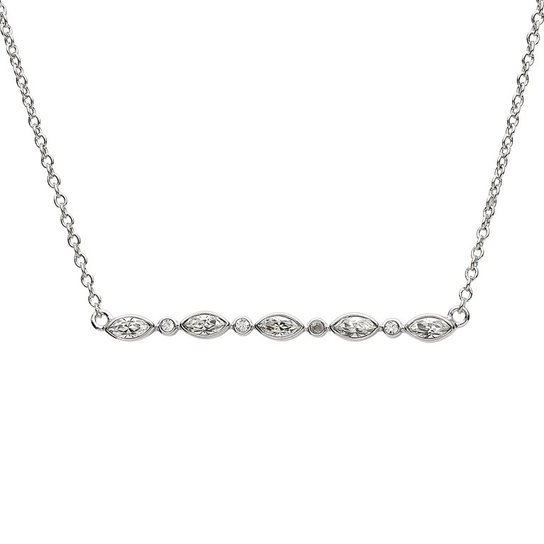Marquise And Round Silver Pendant Encrusted With Swarovski Crystal
