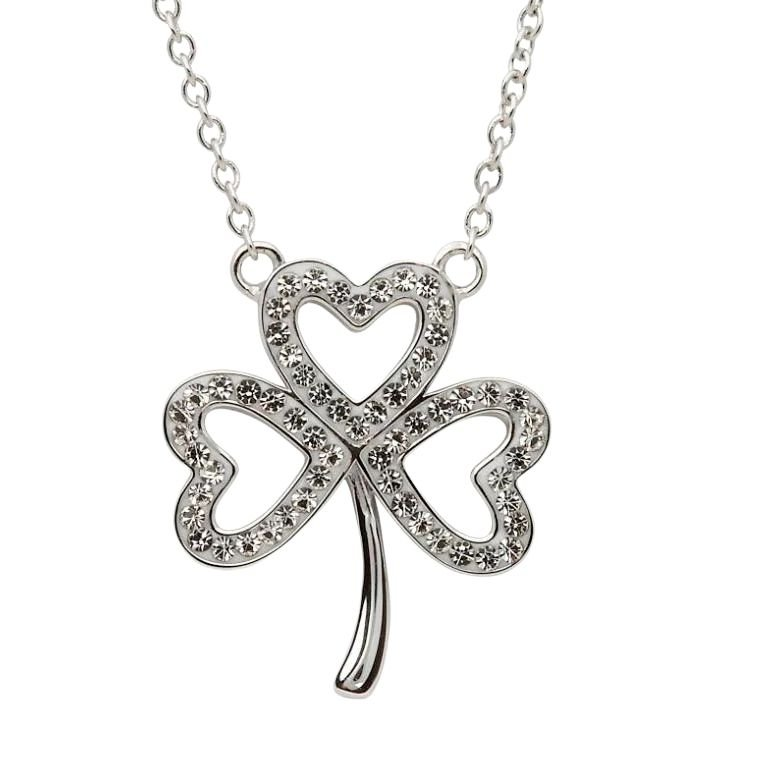 Open Shamrock Necklace Embellished With Crystals