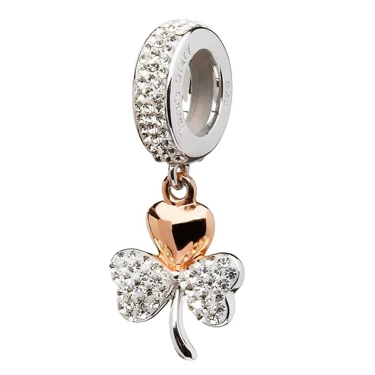 Rose Gold Plated Shamrock Bead Encrusted With Crystal