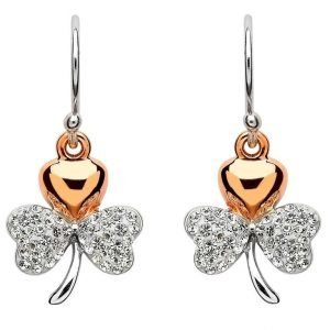 Rose Gold Plated Shamrock Earrings Encrusted With Crystals