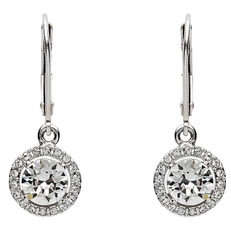 Round Halo Silver Drop Earrings Adorned With Swarovski Crystals