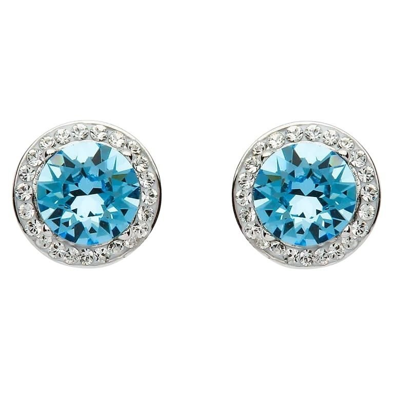 Round Halo Silver Earrings Adorned With Aquamarine and White Crystals
