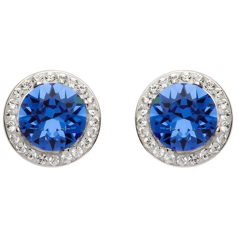 Round Halo Silver Earrings Adorned With Sapphire and White Crystals