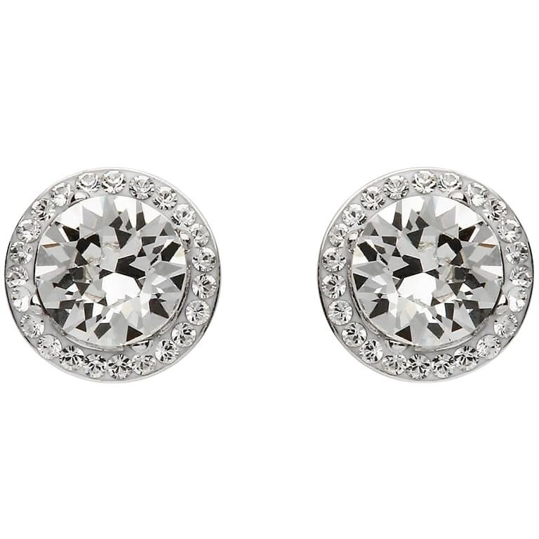 Round Halo Silver Earrings Adorned With Crystals