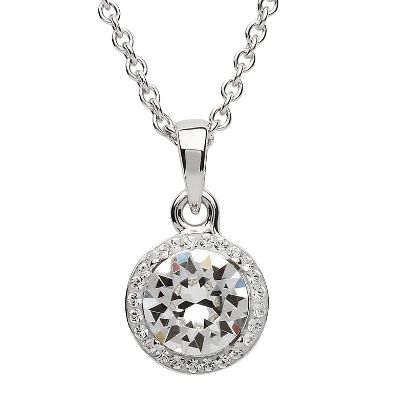 Round Silver Halo Pendant Adorned With Crystals