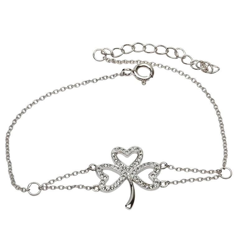 Shamrock Bracelet Adorned With Crystals