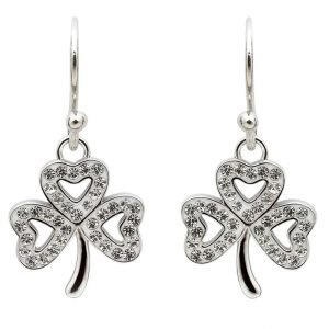 Shamrock Earrings Adorned With Crystals