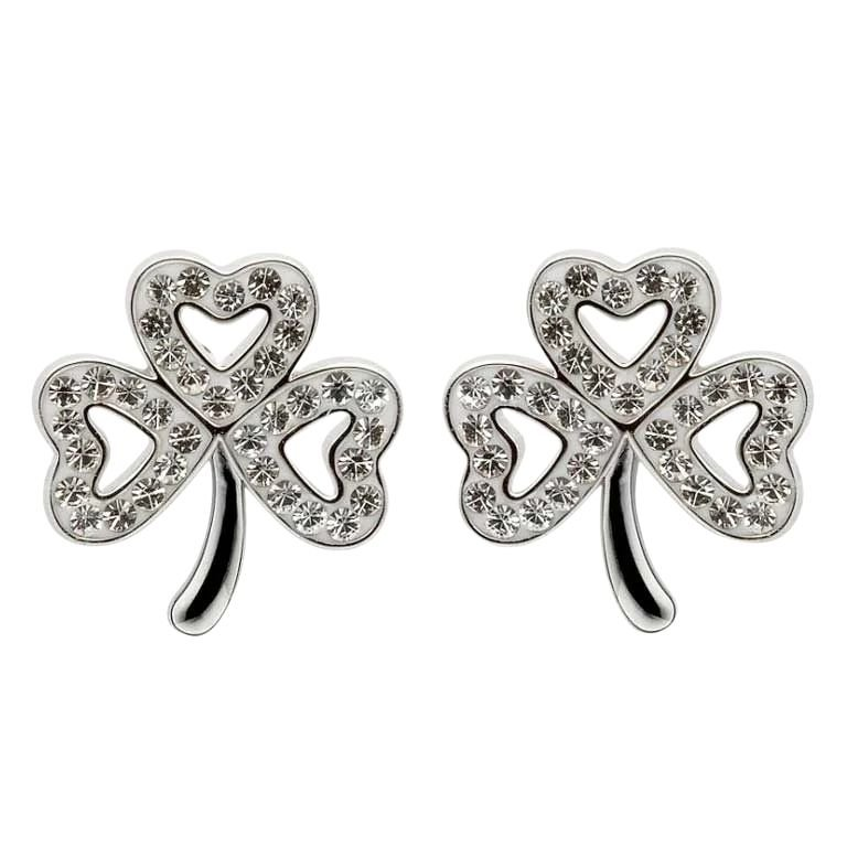 Shamrock Stud Earrings Adorned With Crystals