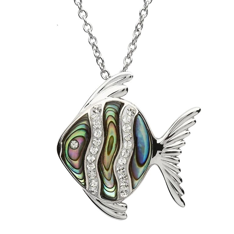 Silver Abalone Fish Pendant Adorned With White Crystal