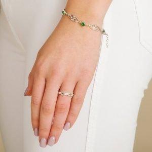 Silver Celtic Stone Set Trinity Bracelet