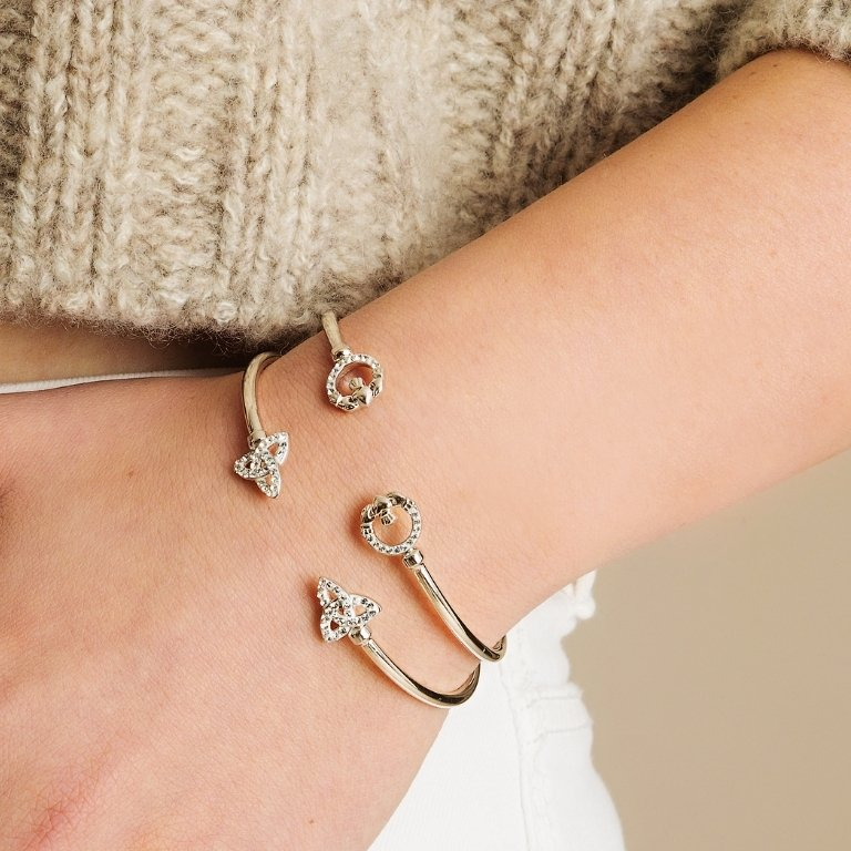Silver Celtic Trinity Bangle Adorned With Crystal