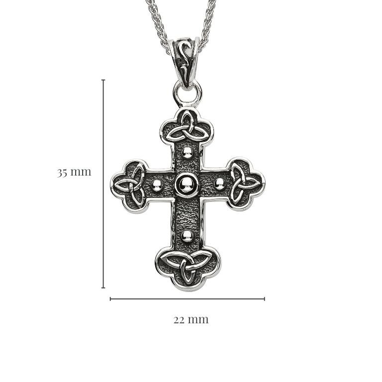 Silver Celtic Trinity Knot Cross with Measurement