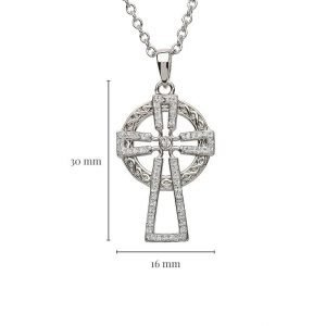 Silver Cross Encrusted With White Crystal with Measurement