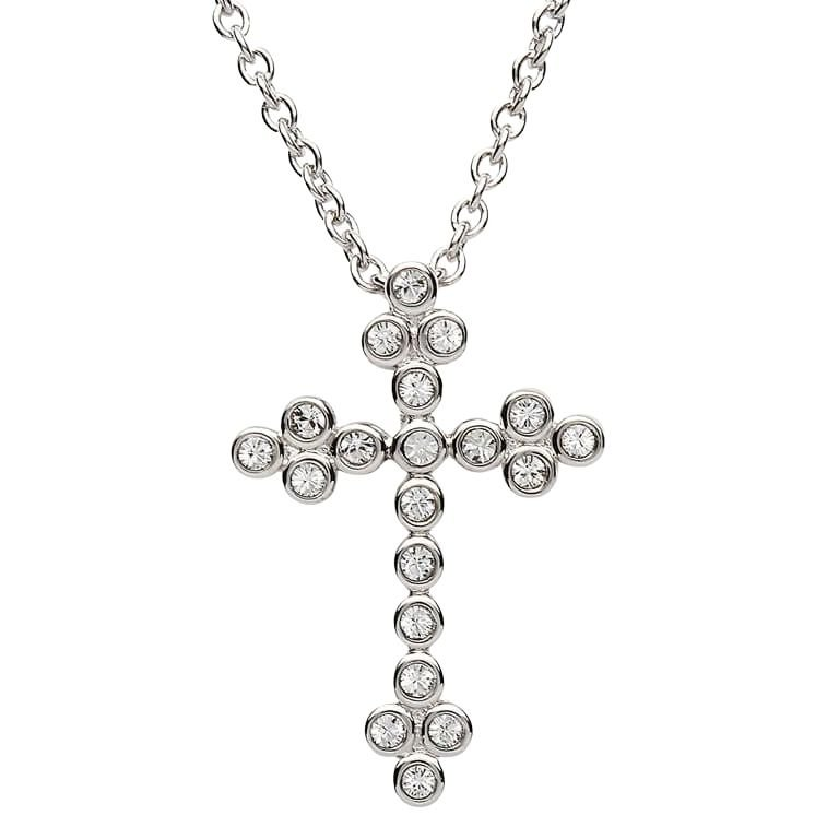 Silver Cross Adorned With Crystal