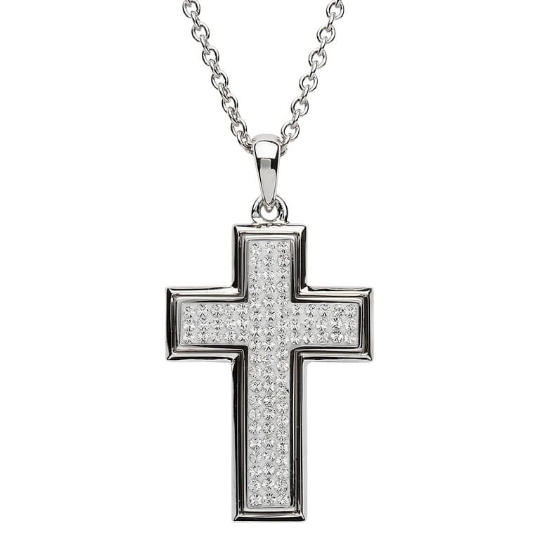 Silver Cross Encrusted With White Crystals