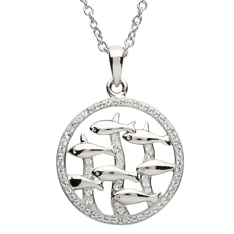 Silver Dolphin Pendant Encrusted With White Crystal