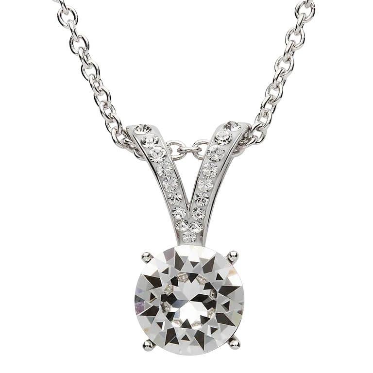 Silver Elegant Design Pendant Embellished With White Crystal St19