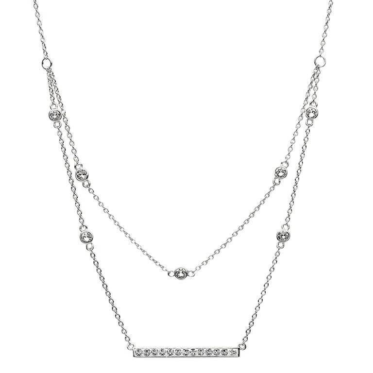 Silver Elegant Necklace Pendant Adorned With White Crystal St27