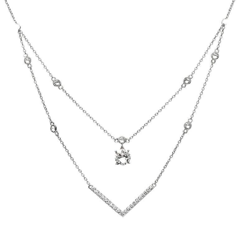 Silver Elegant Necklace Pendant Embellished With White Crystal St28
