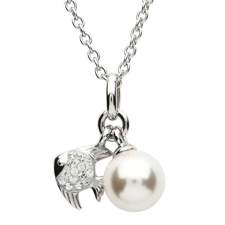 Silver Fish Pearl Pendant Adorned With White Crystal