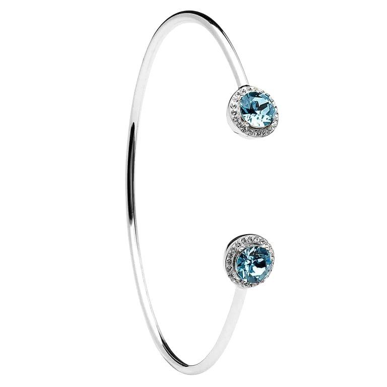 Silver Halo Bangle Embellished With Aquamarine White Swarovski Crystals