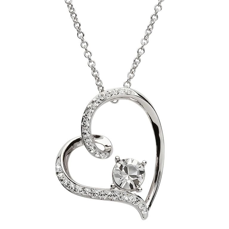 Silver Heart Pendant Encrusted With Crystal St22