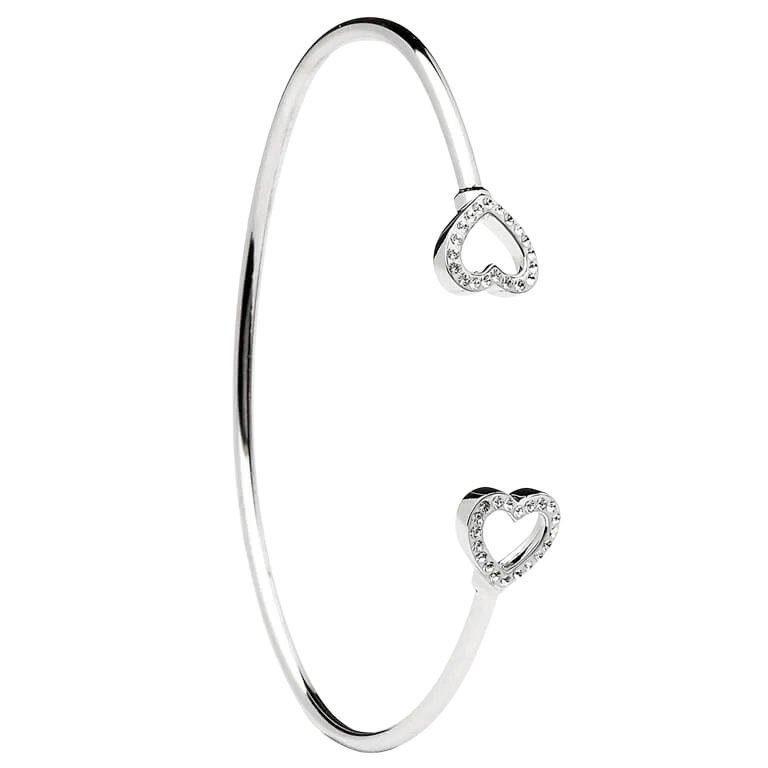 Silver Heart Shape Bangle Design With Swarovski Crystals