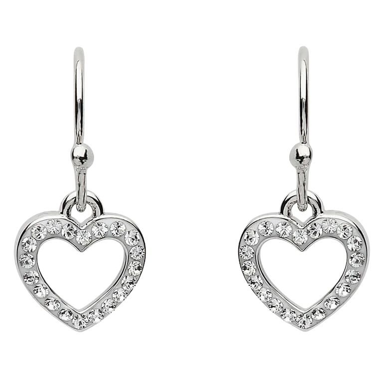 Silver Heart Shape Earrings Adorned With White Crystal St8