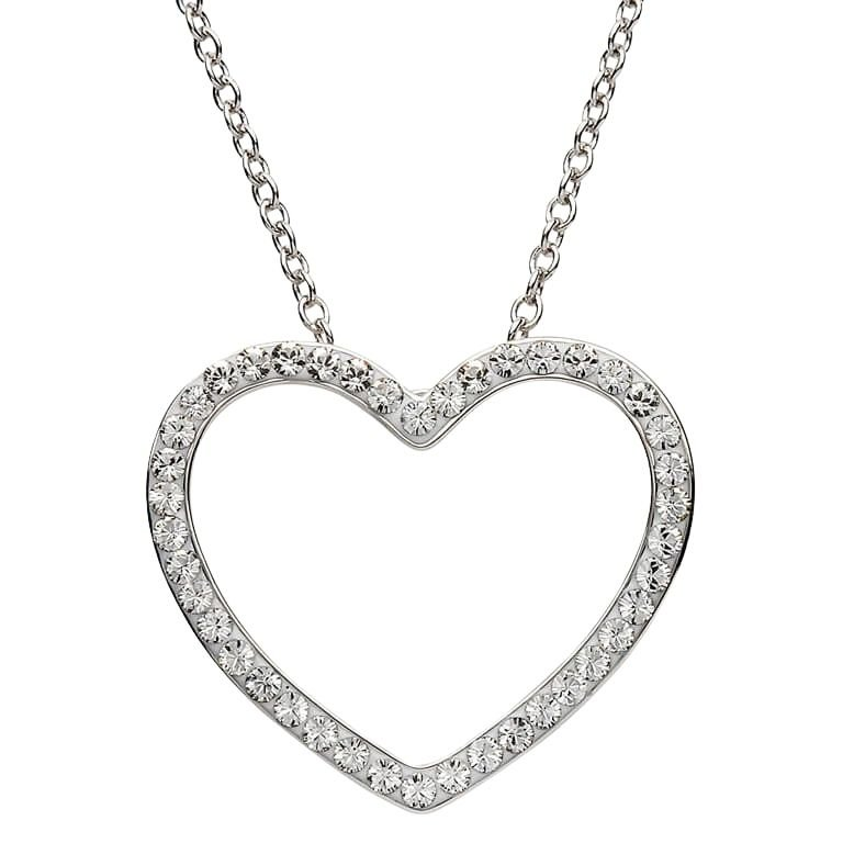 Silver Heart Shape Pendant Adorned With White Crystal St7