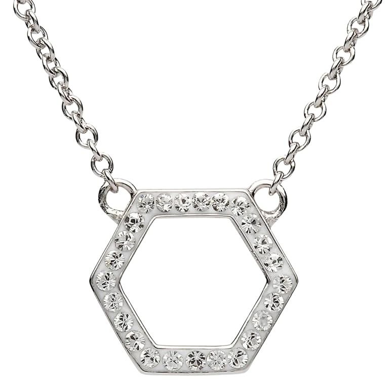 Silver Hexagon Shaped Pendant Adorned With White Crystal