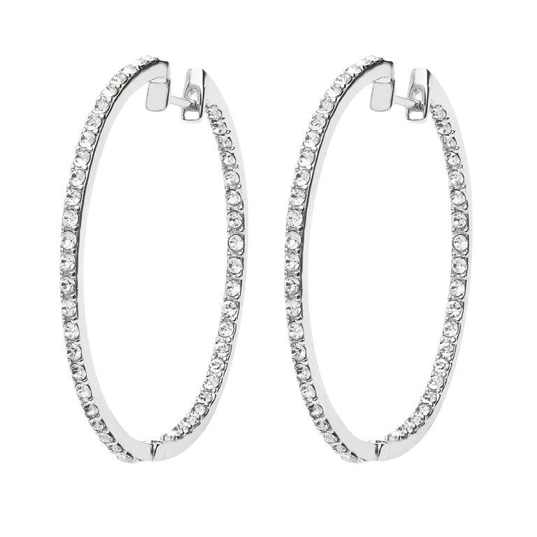 Silver Hoop Earrings Encrusted With White Crystals