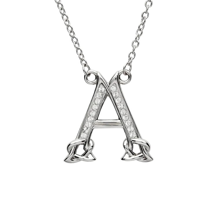 Silver Initial A Adorned with White Swarovski Crystal