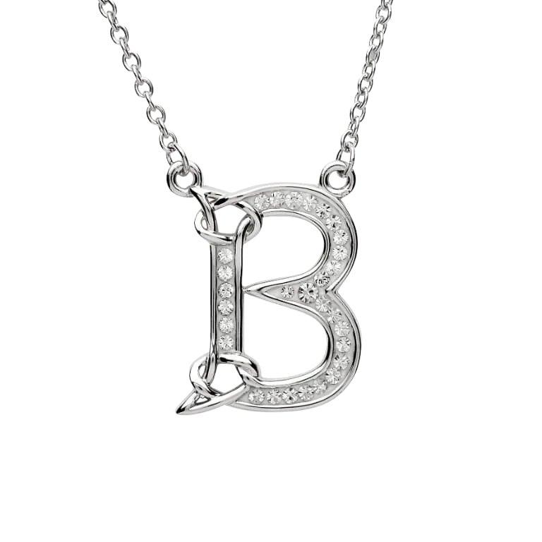 Silver Initial B Adorned with White Swarovski Crystal