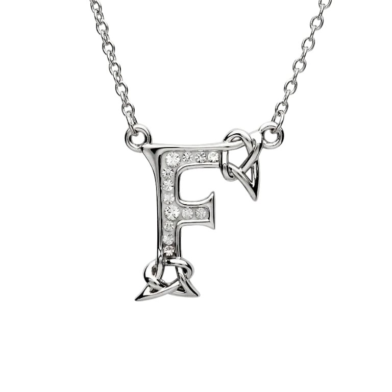 Silver Initial F Adorned with White Swarovski Crystal