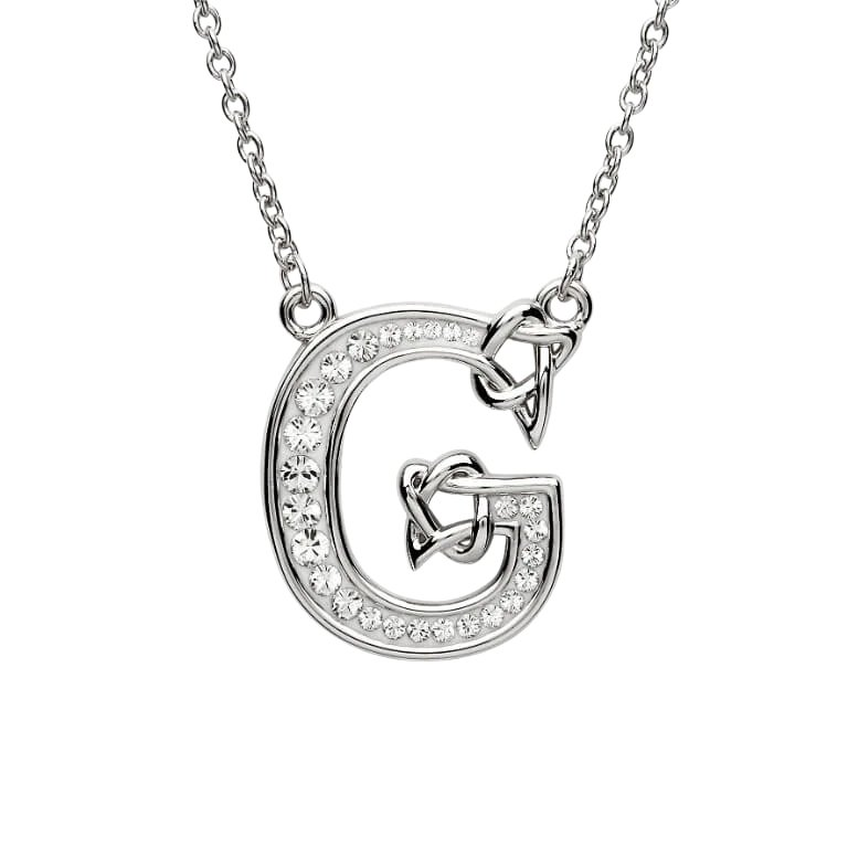 Silver Initial G Adorned with White Swarovski Crystal