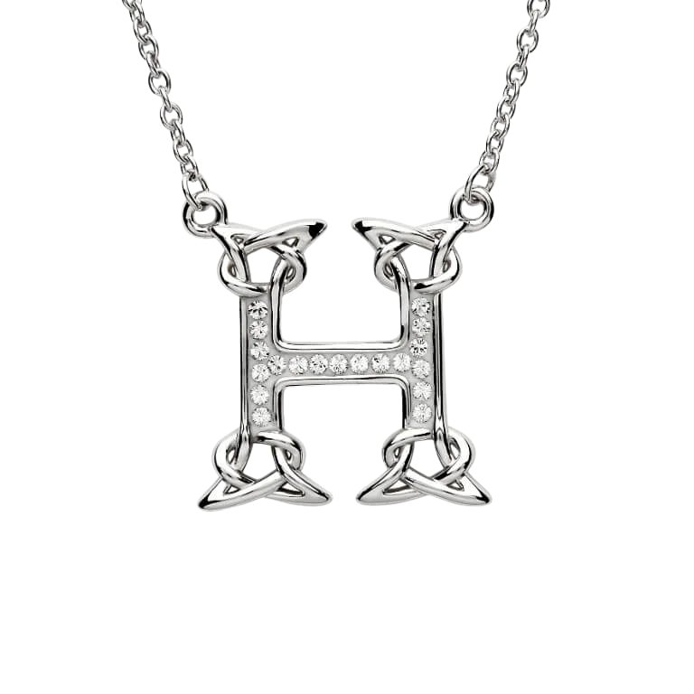 Silver Initial H Adorned with White Swarovski Crystal