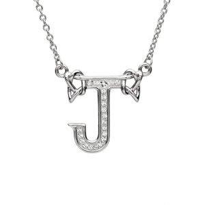 Silver Initial J Adorned with White Swarovski Crystal