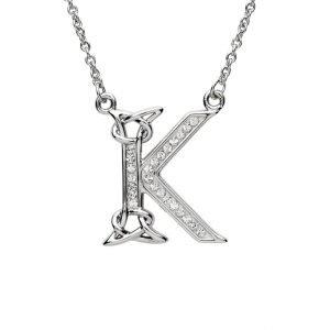 Silver Initial K Adorned with White Swarovski Crystal